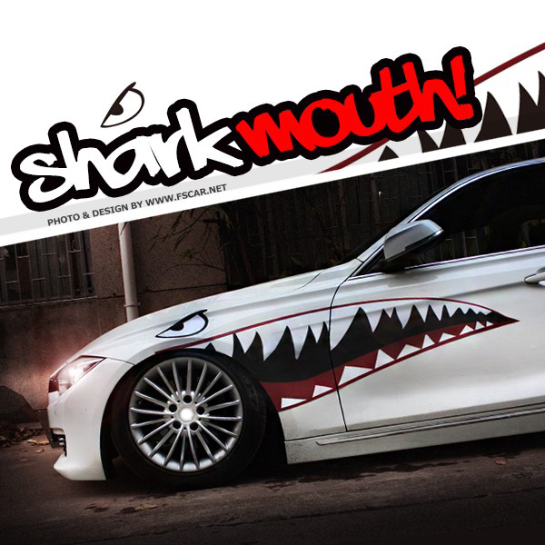 150cm Red Grey Shark Mouth Body Garland Side Door Hellaflush Car Styling Thick PVC Sticker Cool Refitting Exterior Decor Decal