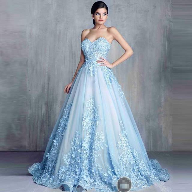 Charming Light Blue Long Evening Dress 2016 A Line Sweetheart Lace Prom  Gown Floor Length Formal Evening Gowns Robe De Soiree b82c6346a