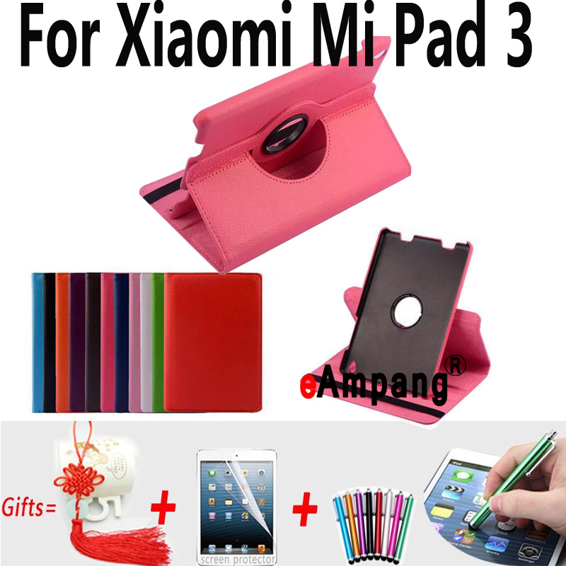 Case for Xiaomi Mi Pad 3 7 9 High Quality Lichi Leather 360 Rotating Cover for