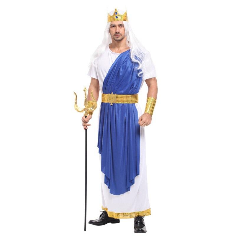 Disfraz de Poseidón del rey del mar de HUIHONSHE para hombre Halloween dioses del Olimpo, disfraces del Carnaval del desfile del Festival de Cosplay de los dioses del Olimpo, fiesta enmascarada