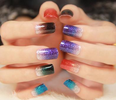 Texture Gradient Glitter Nail Art Stickers For Green Bride Harajuku