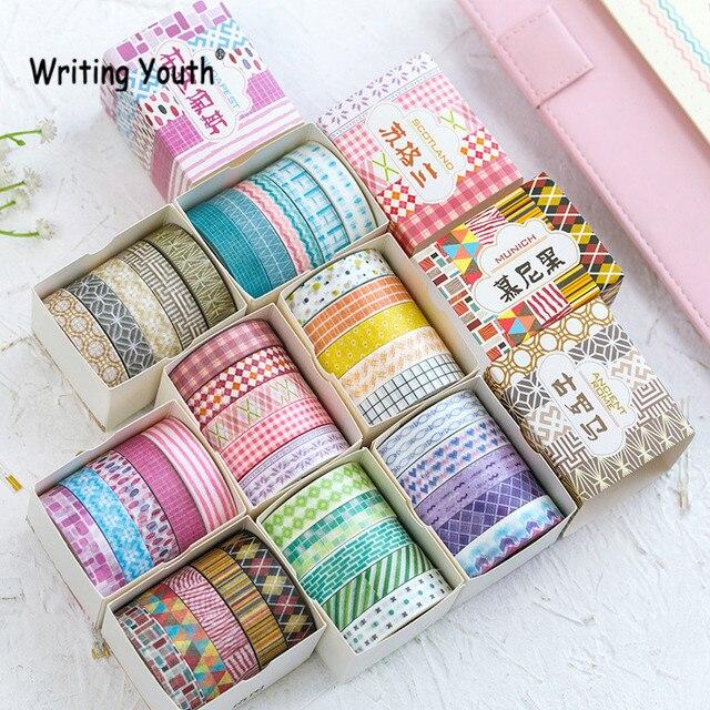 5 unids/set papel decorativo rejilla puntos Washi cinta DIY Scrapbooking cinta adhesiva decoración cinta adhesiva papelería