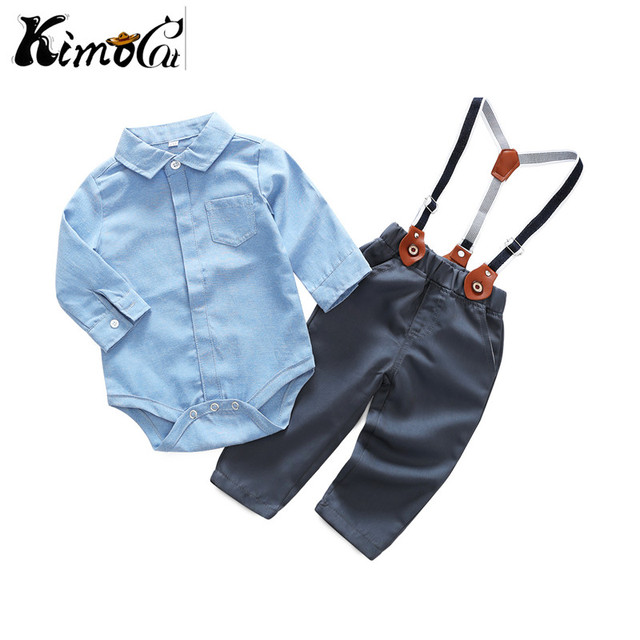 0ed6e1790de9 Kimocat Cotton 2pcs Toddler Baby Boys Kids Shirt Tops Long Pants Clothes  Outfits Gentleman Set Infant Kid Boy Clothing Set
