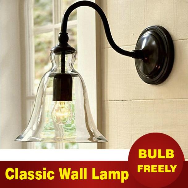 ФОТО Edison bulb Freely Indoor Outdoor Single head wall lamp Modern Simple Iron Refreshing Glass Wall light