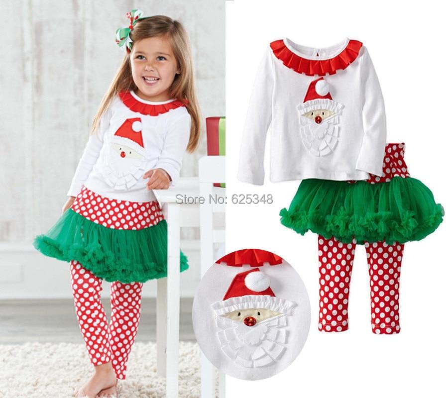 23cc0d4ec 2017 Outono Bebê Roupas de Menina Define Natal Camisola + Polka Dot saia  TUTU calças Roupa Dos Miúdos Conjuntos conjunto de roupa