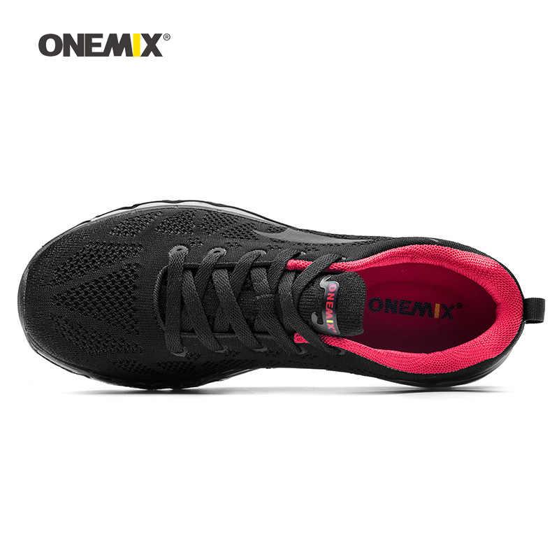 ONEMIX hombre Zapatillas de correr para hombre bonitas Zapatillas deportivas negro rojo deportes aire cojín al aire libre Zapatillas para caminar y correr