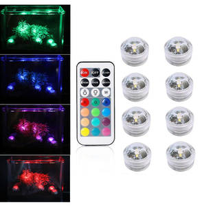 Button Battery Remote Waterproof RGB Submersible LED Light Underwater Use Night Lamp for Vase Aquarium Party Swimming Pool Decor