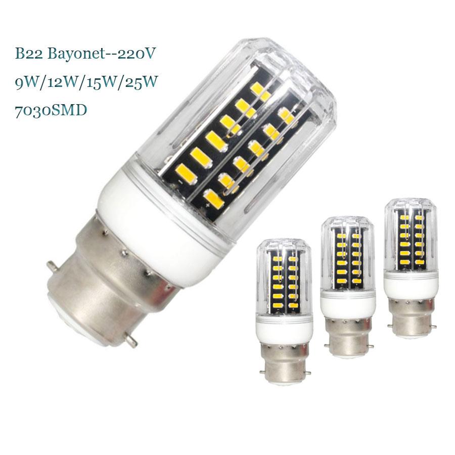 B22 Bayonet SMD7030 LED Corn Bulb Lamps AC220V 25W 15W 12W 9W Led Bulbs Lampada Lamp Light Corn Lights 15 22 28 42Leds