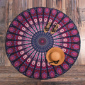 Indian Mandala Round Roundie Beach Throw Pink Red Tapestry Hippy Boho Gypsy Polyester Tablecloth Beach Towel