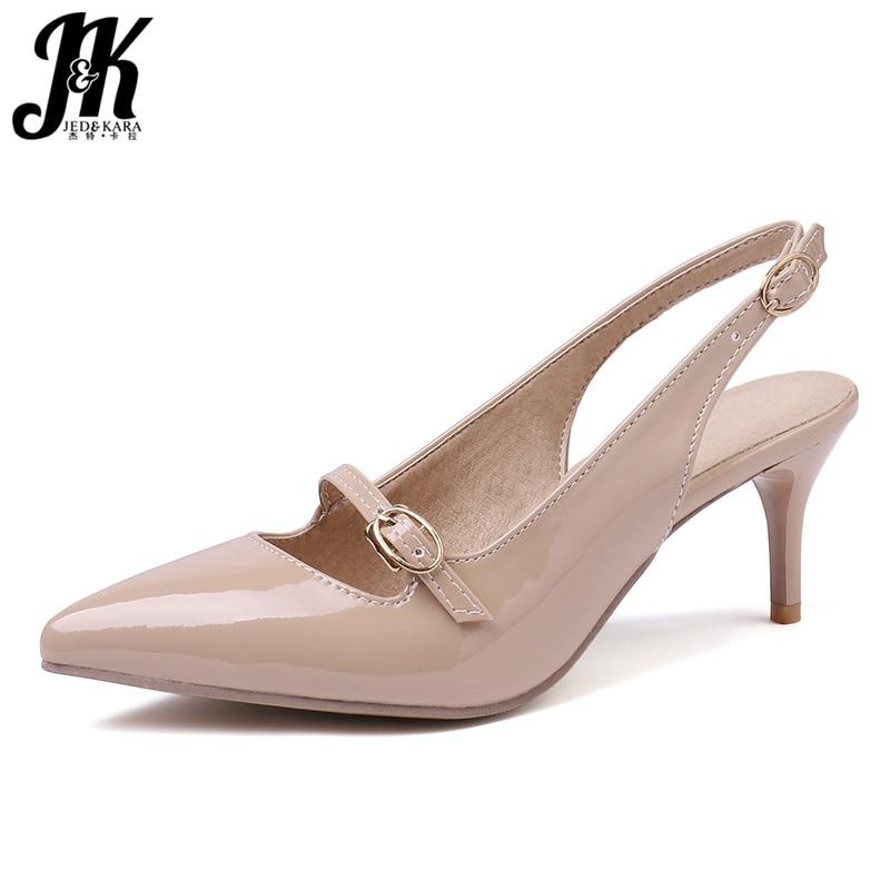 702a6eba JK Plus tamaño 32-48 sandalias de tacones altos de las mujeres sandalias de  Punta calzado sandalias de Pu zapatos de mujer Zapatos de oficina mujer de  ...