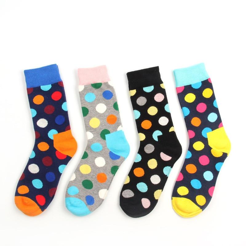 4 pair/lot Mens colorful mens socks dot brand Cotton winter socks chaussette homme calcetines hombre socks couple P028