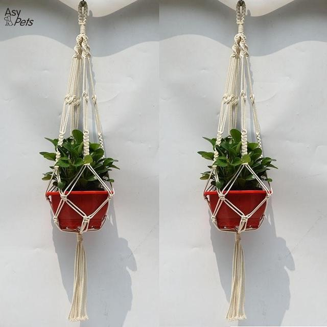 Asypets 2pcs Macrame Plant Hanger Indoor Outdoor Hand Knit Hanging Planter Basket Net Cotton Rope With