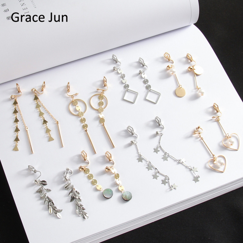 Grace Jun Korea Style Heart Peach Star Geometric Long Tassel Clip on Earrings Without Piercing for Women No Ear Hole Earrings