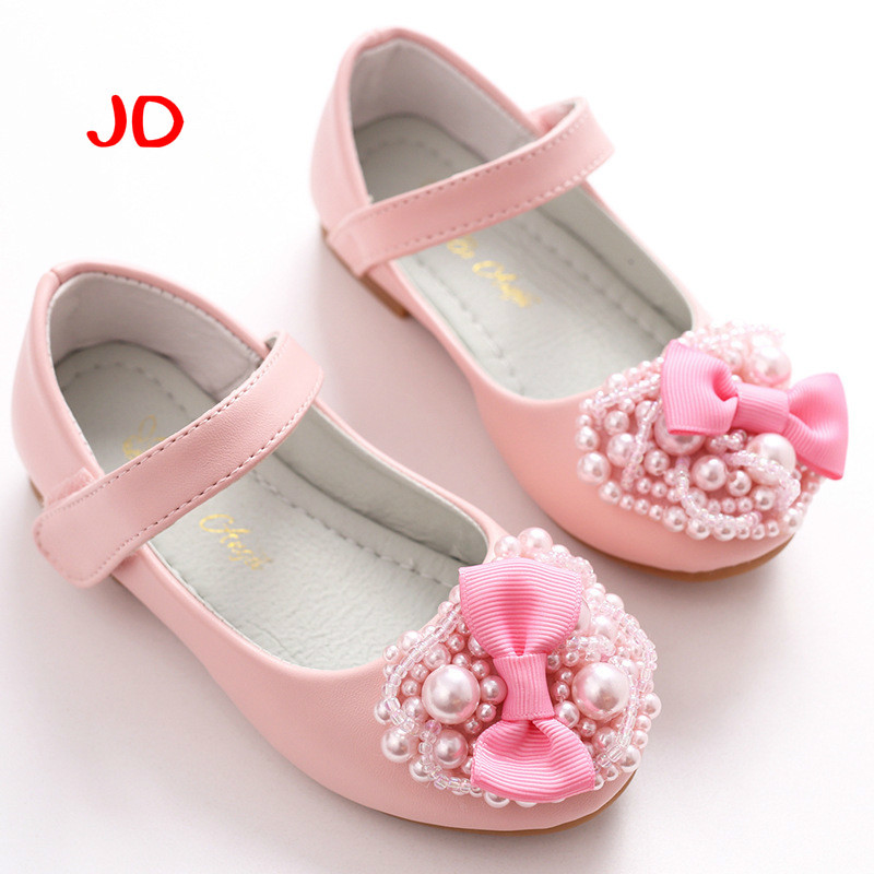 Girls White Dress Shoes Models Bowknot Princess Shoes Light Leather Korean Students 2 Color Baby Leather Shoes For Children New