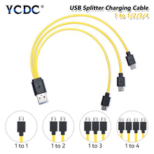 5V/2A Micro USB Cable USB 2.0 To Micro USB Splitter Cable 1 To 1/2/3/4 Charge Cord For Samsung Huawei Smart Phone AA AAA Battery