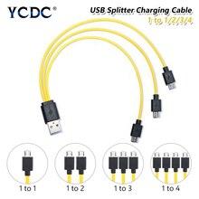 5V/2A Micro Usb Kabel Usb 2.0 Naar Micro Usb Splitter Kabel 1 Tot 1/2/3/4 Lading Koord Voor Samsung Huawei Smart Telefoon Aa Aaa Batterij