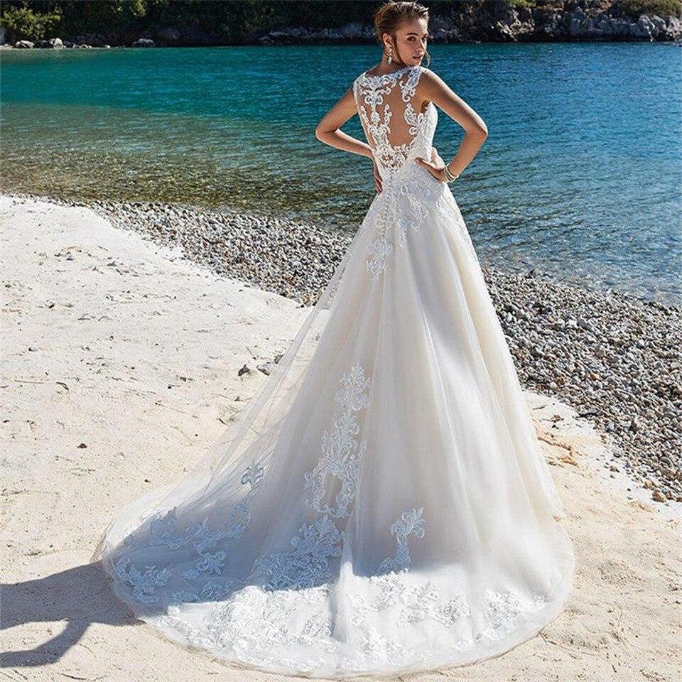 Smileven Wedding Dress Lace Appliques Sleeveless Beach Bride Dresses vestidos de novia A Line Wedding Bridal Gowns 2019 in Wedding Dresses from Weddings Events
