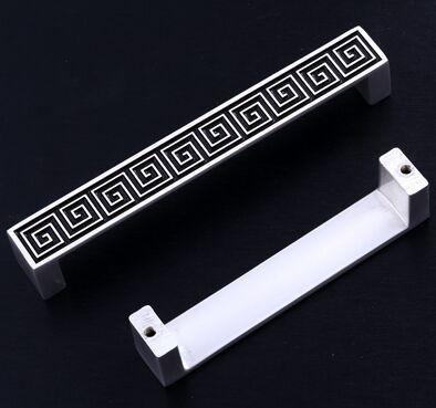 96mm silver white Kitchen cabinet handles pull black drawer dresser cupboard wardrobe furniture door handles knobs pulls 3.8