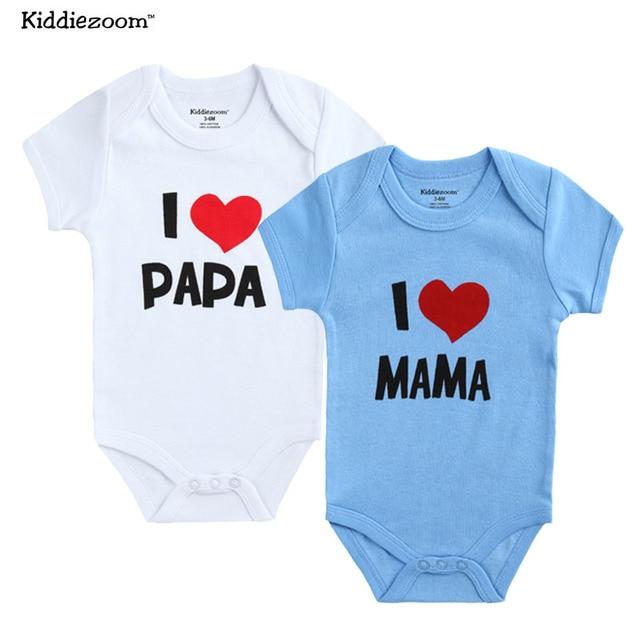 2 PCS/LOT nouveau-né bébé vêtements à manches courtes fille garçon vêtements j'aime Papa maman conception 100% coton barboteuses de bebe Costumes blanc 4