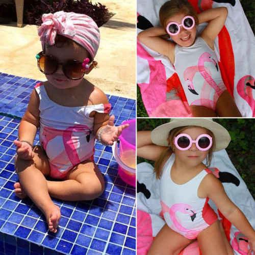 2018 новый летний детский Танкини с фламинго для девочек, Цельный купальник, розовый купальник, бикини, детская одежда для пляжа, купальные костюмы