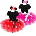 2017 Regalo de Los Cabritos Minnie Mouse Fiesta de Disfraces de Fantasía Cosplay Girls Ballet Tutu Dress + Ear Diadema Niñas Polka Dot Dress ropa Arco