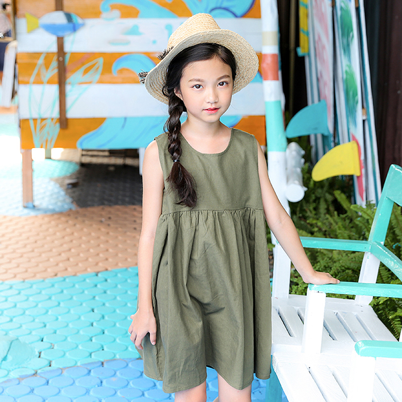 Baby Big Girls Dresses 2018 Summer Ruffles Solid Cotton Sundress Kids Sleeveless dress Clothes Children Dresses Casual Clothing summer kids dresses for girls pineapple lemon girl dresses cotton sleeveless children sundress sarafan clothes for girls 2 7y