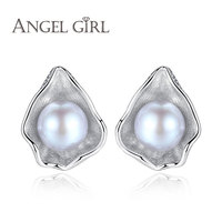 Angel Girl Charm Shell Design Pearl Jewelry 925 Sterling Silver Jewelry Fashion Gray Pearl Stud Earrings