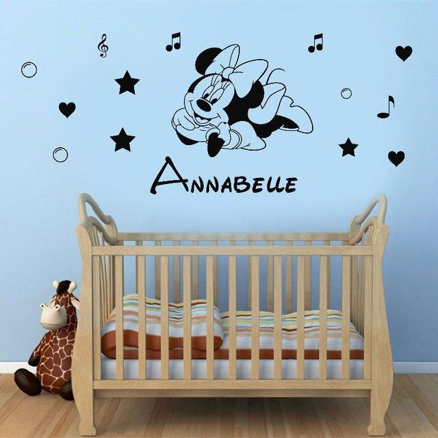 Customizable name cartoon character vinyl wall applique boy girl room home decoration wallpaper art mural DZ39