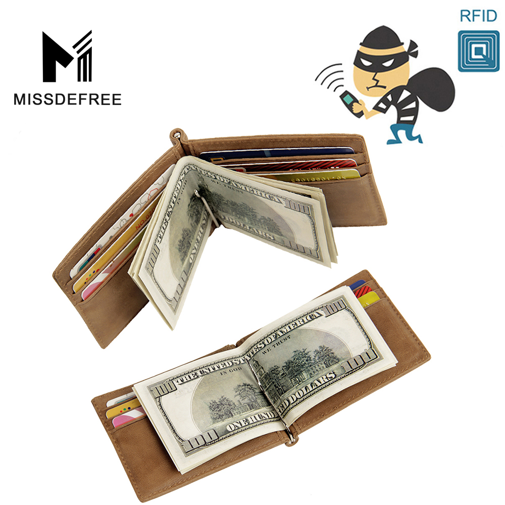 RFID Blocking Mens Leather Deluxe Spring Money Clip ID Holder Wallet For Men Ultimate Identity Theft And Credit Card Protection