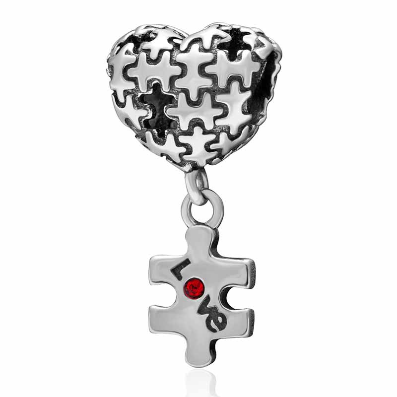 Autism Puzzle Heart Love Charm 925 Sterling Silver With Red Crystal Dangle Bead Fit Original