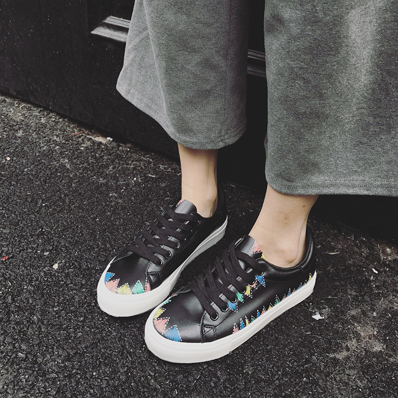 2018 Plat Toile Casual Chaussures Femme Harajuku Graffiti Coréenne Printemps Blanc 2 1 Sauvage gxzqrwg
