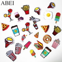 2495a1993a22 10pcs/lot Random Mix Iron On Foods Drinks Stickers Cartoon Patches Set DIY  Clothing Jeans Backpack Badge Sew Garments Appliques