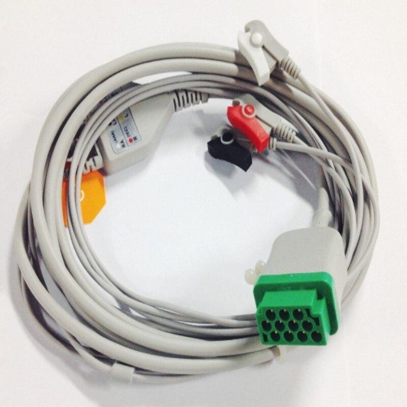 Бесплатная доставка один кусок 3 провода клип/захват ECG/EKG кабель Leadwire для GE Marquette GE Dash Pro4000, DASH PRO 3000, AHA