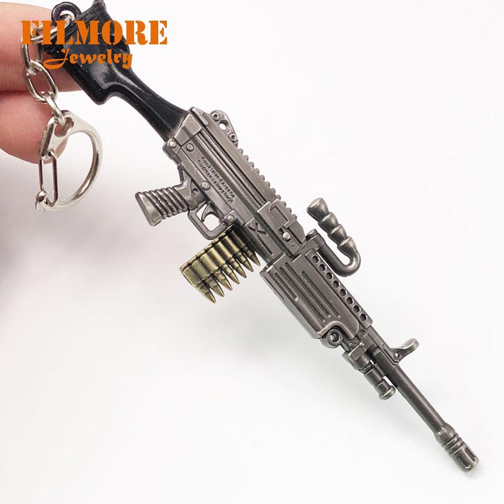 12cm PUBGゲーム5.56mm弾丸M249キーホルダーメインウェポンキーチェーンマシンガンキーリングキーリングLlaveros ChaveiroファッションジュエリーHonda 500双子