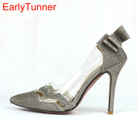 2017 Spring Brand New Gold Silver Women Party Bridals Pumps Black High Heels Sexy Lady Casual