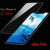 Protector de pantalla de cristal templado para iPhone, película ultrafina de 0,1mm, 9H, para iPhone X, XS, 11, 12 Pro, MAX, XR, 6, 6s, 7, 8 Plus