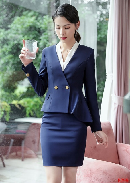 a175e6983b New Style 2019 Fashion Casual Ladies Nav blue Blazer Women Business Suits  with Skirt and Jacket Sets Office Uniform Designs