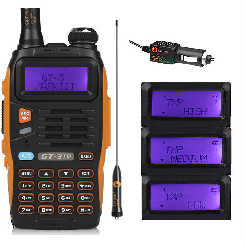 Baofeng GT-3TP MarkIII TP 1/4/8 Watt High Power Dual-Band VHF UHF Ham Two-2-wege-radio Walkie Talkie Transceiver mit Auto-ladegerät