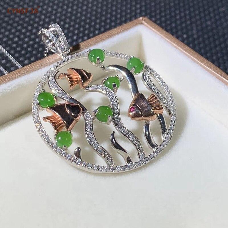 Jaspe de Jade Hetian naturel certifié incrusté de 925 colliers de charmes en argent Sterling pendentif de Jade chanceux pendentifs de Jade de haute qualité