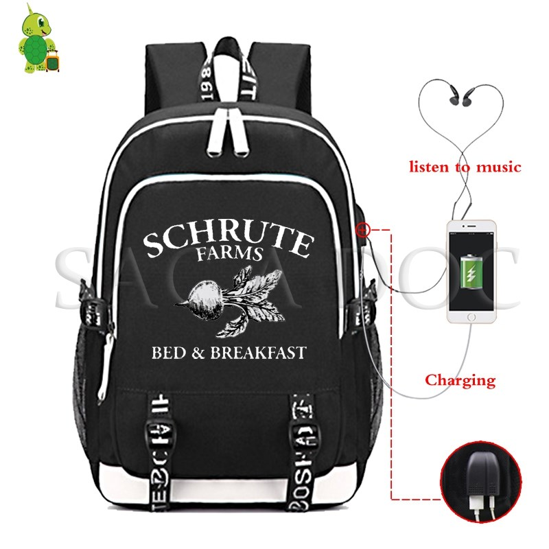 Schrute Farms TV Series Office Backpack Large Laptop Backpack for Teenage Boys Girls Multifunction USB Charge School Travel Bags