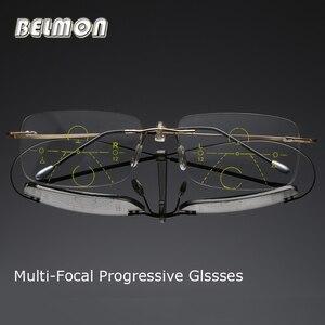 Image 1 - Belmon Multi Focale Progressieve Leesbril Mannen Vrouwen Randloze Verziend Unisex Dioptrie Bril + 1.0 + 1.5 + 2.0 + 2.5 + 3.0 RS790