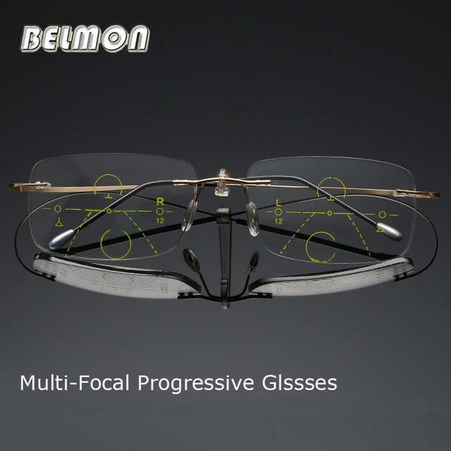 Belmon Multi Focale Progressieve Leesbril Mannen Vrouwen Randloze Verziend Unisex Dioptrie Bril + 1.0 + 1.5 + 2.0 + 2.5 + 3.0 RS790