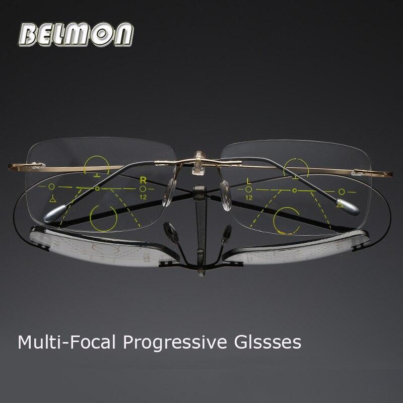 68f4f30c81 Belmon Multifocal Progresiva gafas de lectura hombres mujeres sin rebordes  de presbicia Unisex Diopter Eyeglasses +