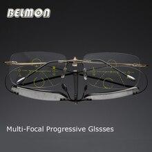 Belmon multi focal progresywne okulary do czytania mężczyźni kobiety Rimless Presbyopic Unisex dioptrii okulary + 1.0 + 1.5 + 2.0 + 2.5 + 3.0 RS790