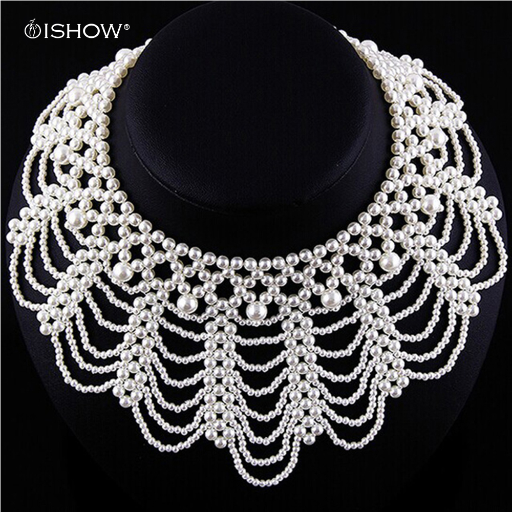 Hot sale Statement Necklace Pearl Necklace White Charms Artificial Chain Long Imitation Pearls Necklace Beads Necklaces Collier