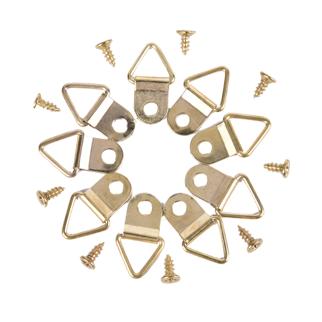 100Pcs Golden Picture Hangers Brass Triangle Photo Picture Frame ...