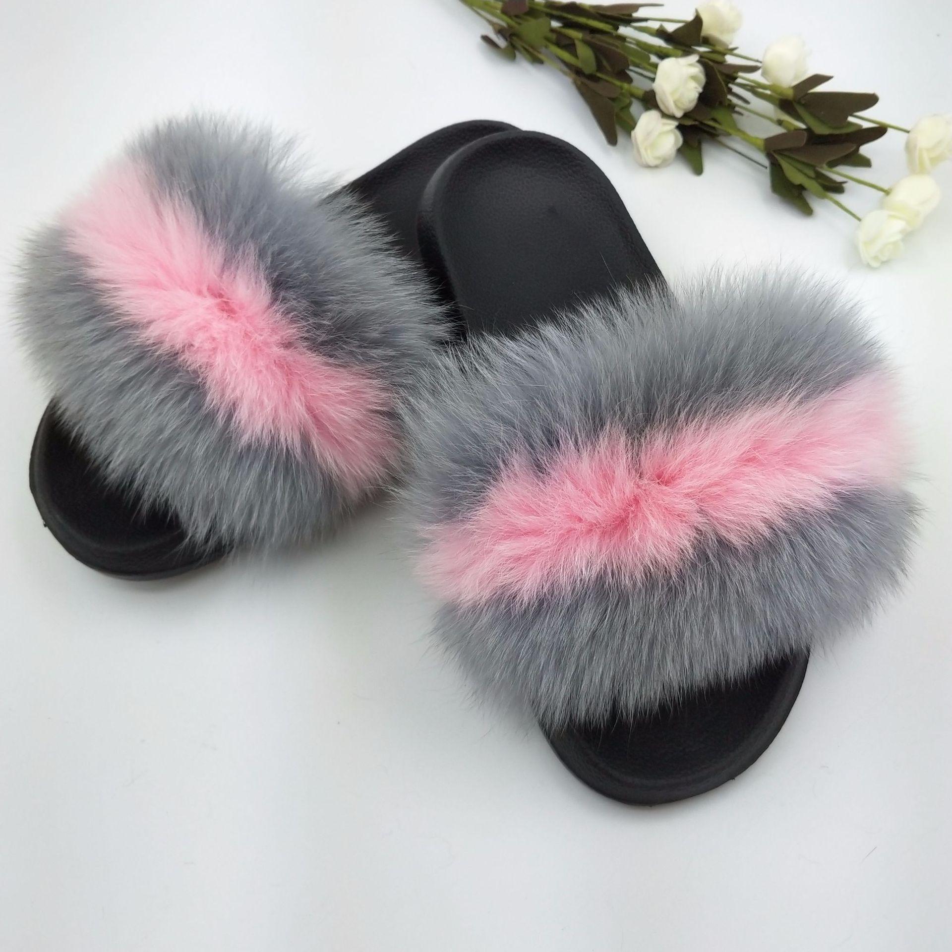 Women Summer Fox Fur Slipper Fur Slides Slip On Beach Sandals Flip Flop Outdoor Slippers Lady Slides Flat Heel Plus Size