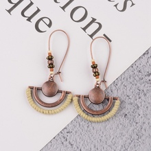 TopHanqi Boho винтажные полукруглые Висячие серьги для женщин, новинка, этнические металлические бронзовые висячие серьги, вечерние свадебные серьги