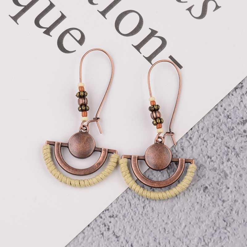 TopHanqi Boho Vintage Semicircle Drop Earrings Women Newest 2019 Ethnic Metal Bronze Dangling Earrings Party Wedding Ear Jewelry