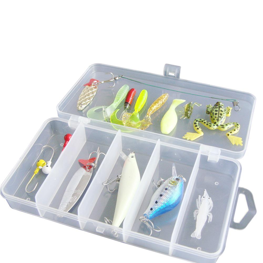 5pack x (Good deal 16Pcs Artificial Fishing Lure Set Hard Soft Bait Minnow Spoon Crank Shrimp Jig Hook with Fishing Tackle Box goture ice fishing baits metal jig drop jig grub spoon 0 6 6 2g hard artificial bait carp fishing accessories lure box 40pcs